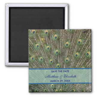 Peacock Wedding Save The Date Square Magnet