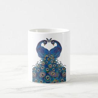 peacock white mug