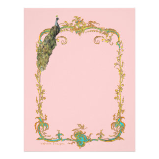 Peacock with Gold Frame Ornate Stationery Customized Letterhead
