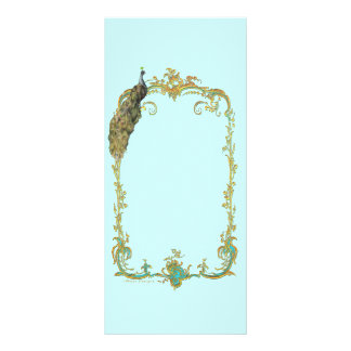 """Peacock with Gold Frame """"Save the Date"""" Card Personalized Rack Card"""