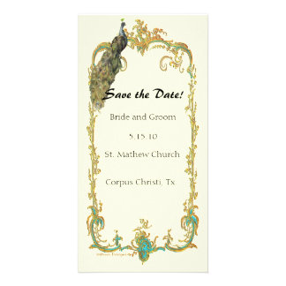 "Peacock with Gold Frame ""Save the Date"" Card Photo Card"