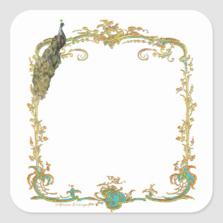 Peacock with Gold Frame Save the Date Sticker