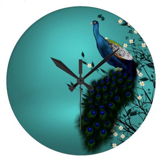 Peacock with Japanese blossom Wall Clocks
