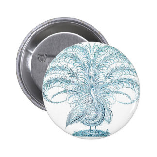 Peacock with Outstretched Feathers 2 Inch Round Button