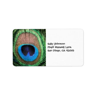 Peacock with Stained Glass Effect. Label