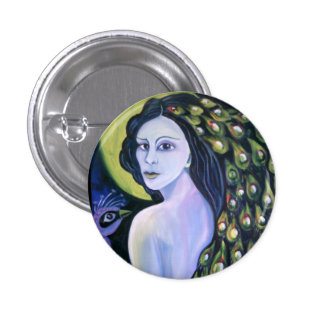 Peacock woman. 1 inch round button