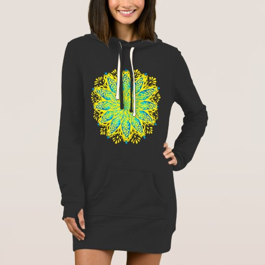 Peacock Yellow Green Blue Mandala Hoodie Dress