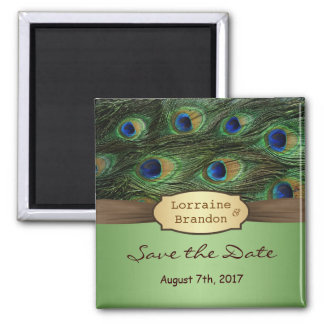 Peacock's feathers Save the Date  Magnet