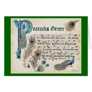 Peacocks Green Manuscript Card
