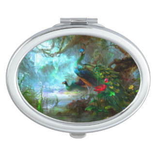 Peacocks in a Garden Compact Mirror