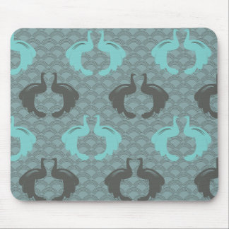 PEACOCKS in AQUA & GRAY Mousepad