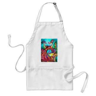 PEACOCKS IN LOVE  MONOGRAM red blue turquase green Standard Apron