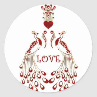 Peacocks Love Classic Round Sticker