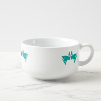 Peacocks Soup Bowl With Handle