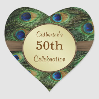 Peacok's feather 50th Birthday Celebration Sticker