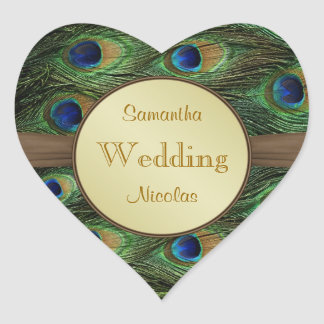 Peacok's feathers heart shaped Wedding Sticker