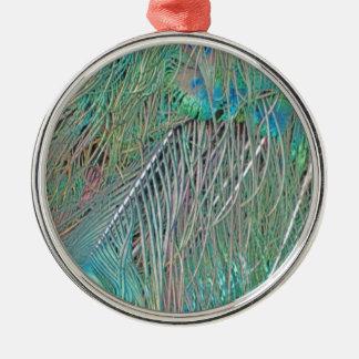 Peafowl Decadence Silver-Colored Round Ornament