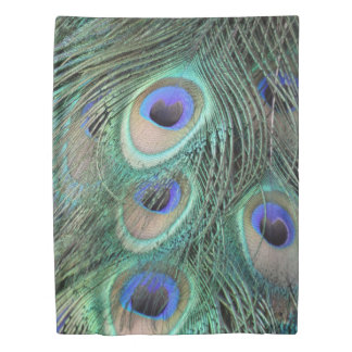Peafowl Feathers Large Blue Eyes Duvet Cover