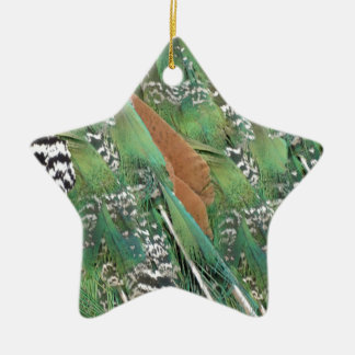 Peafowl Feathers Mixed Colors Ceramic Star Ornament