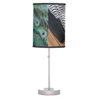 peafowl feathers small eyes table lamp