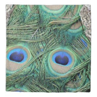 Peafowl Feathers With Big Eyes Duvet Cover