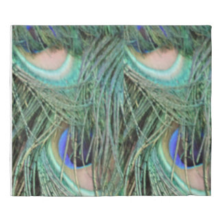 Peafowl Feathers With Blue Eyes Duvet Cover