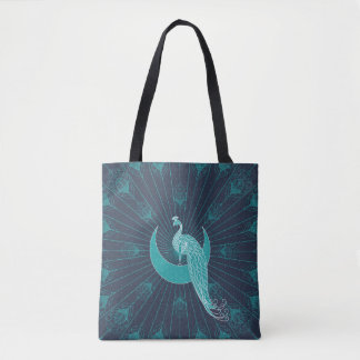 Peafowl On The Moon Tote Bag