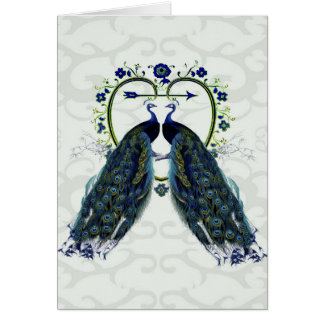 PEAFOWL peacock love heart personalized Card
