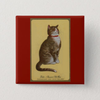Peake, Chessie's Old Man tomcat tabby cat 2 Inch Square Button