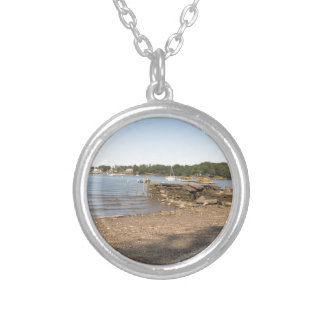 Peaks Island, ME Club Beach Silver Plated Necklace