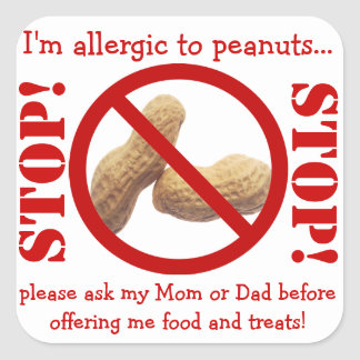 Peanut Allergy Party or Field Trip Warning Square Sticker