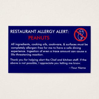 Peanut Allergy Restaurant & ICE Card - F/NB