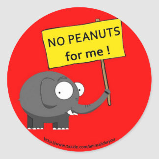Peanut Allergy Round Sticker
