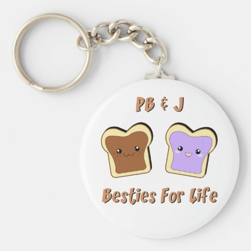 Peanut Butter and Jelly Basic Round Button Keychain