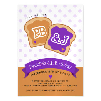 Peanut Butter and Jelly Birthday Party Magnetic Card