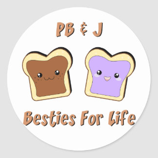 Peanut Butter and Jelly Classic Round Sticker