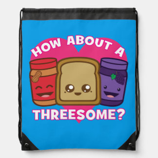 Peanut Butter and Jelly - How About A Threesome? Drawstring Bag