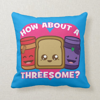 Peanut Butter and Jelly - How About A Threesome? Throw Pillow