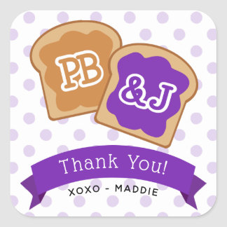 Peanut Butter and Jelly Party Favor Thank You Square Sticker
