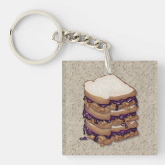 Peanut Butter and Jelly Sandwiches Keychain