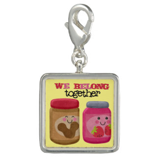 Peanut Butter & Jelly Square Charm, Silver Plated Photo Charms
