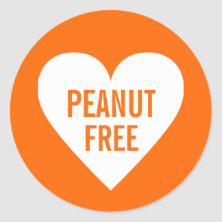 Peanut Free Allergy Safe Culinary Label Round Sticker