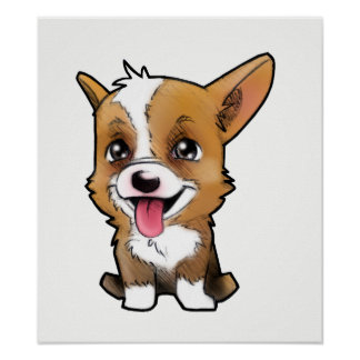 Peanut the corgi now on canvas poster