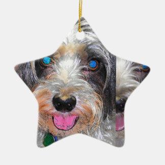 peanut the rescue dog ceramic ornament