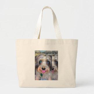peanut the rescue dog large tote bag