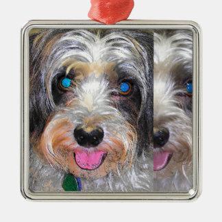 peanut the rescue dog metal ornament