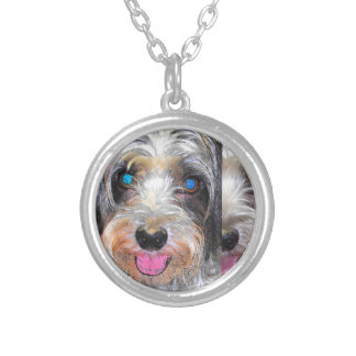 peanut the rescue dog silver plated necklace