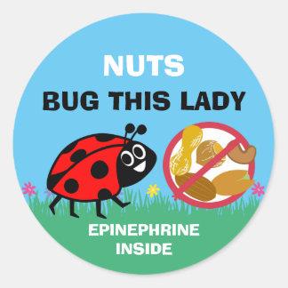 Peanut Tree Nut Allergy Alert Epinephrine Ladybug Round Sticker