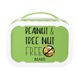 Peanut Tree Nut Free Lunch Personalized Green Lunch Box
