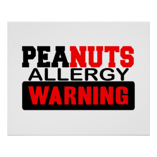 Peanuts Allergy Warning Poster